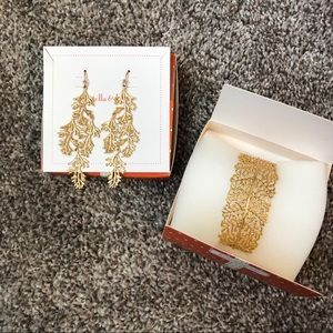 Stella & Dot Gold Earrings & Bracelet Set